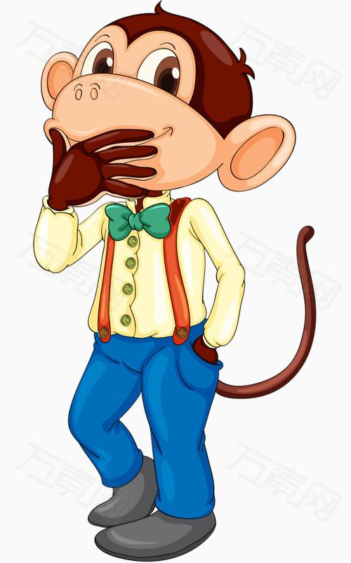 小猴子  小动物 托腮 思考 卡通 手绘 可爱