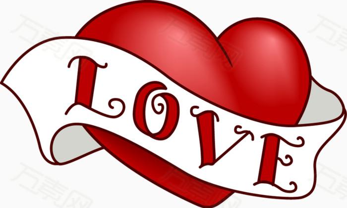 万素网 素材分类 白色带子红色爱心  4203