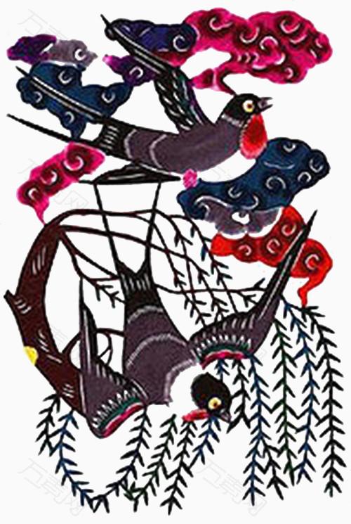 燕子剪纸步骤图解