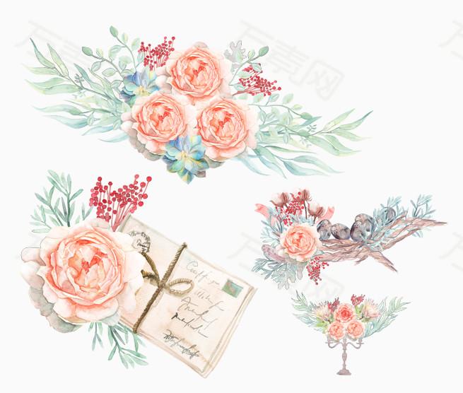 手绘小鸟信件花丛
