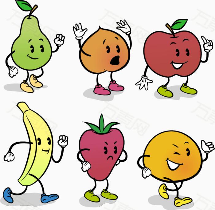 6款可爱表情水果矢量素材