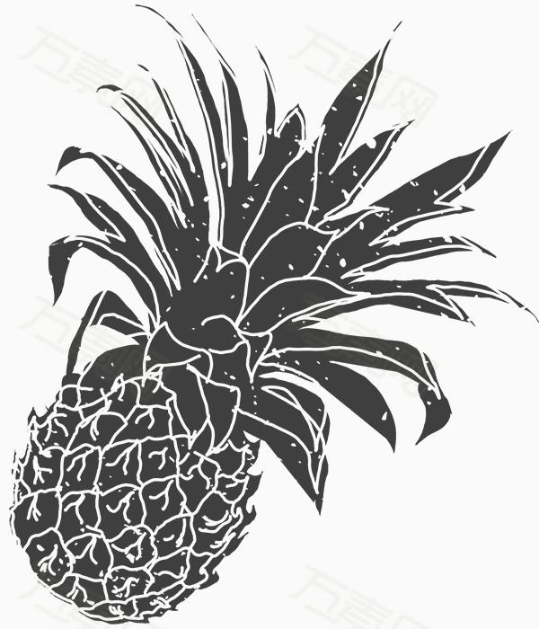 万素网 素材分类 手绘黑白菠萝图片  11847 万素网提供手绘黑白菠萝图