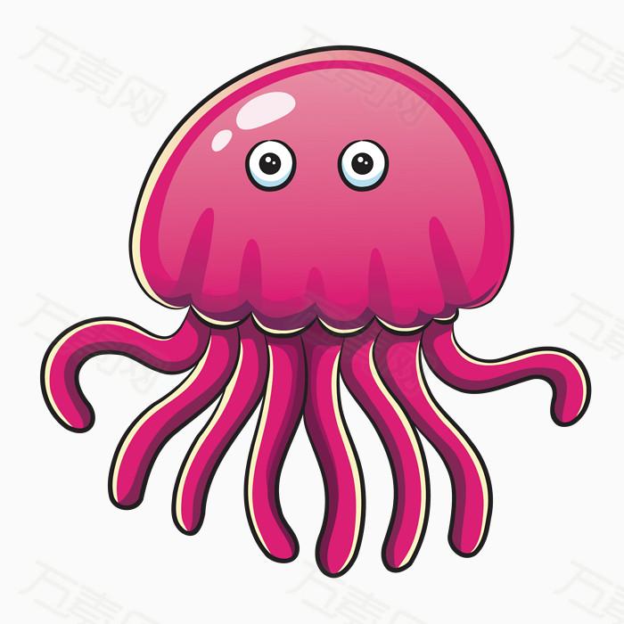 卡通水母 手绘水母 卡通动物 手绘动物 海底动物 海洋生物 粉色水母