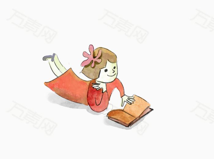 手绘看书小女孩