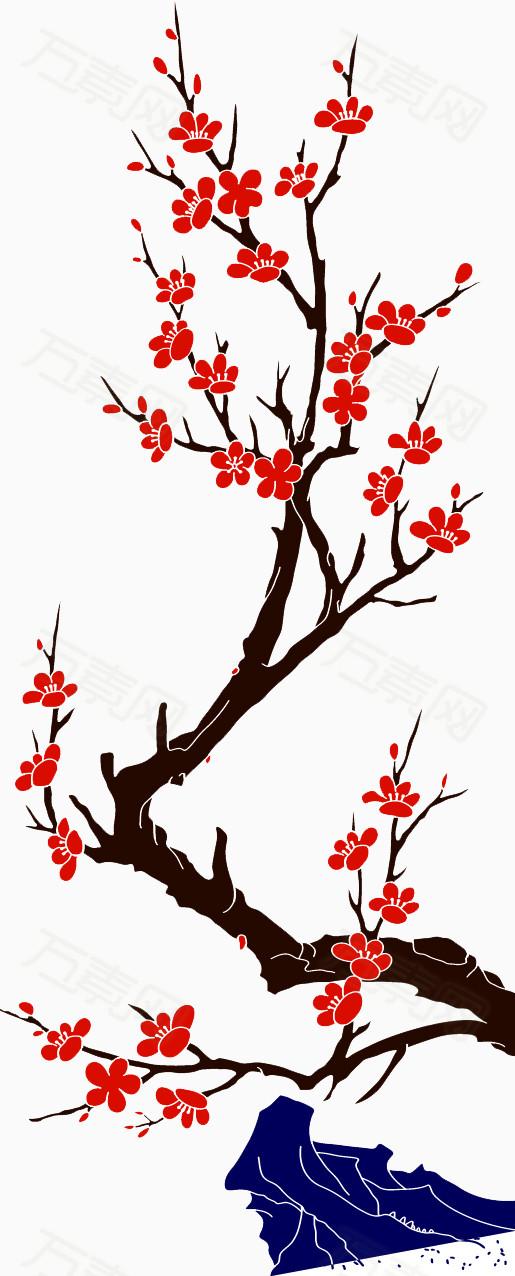 大红色手绘梅花树枝素材图片免费下载_装饰元素_万素网