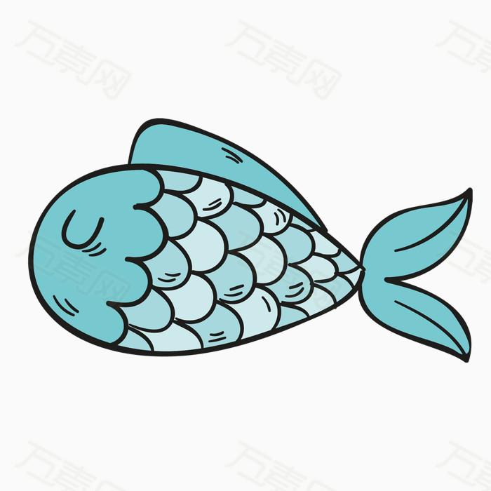 夏日主题元素 手绘线条 可爱风 娃娃鱼 热带鱼
