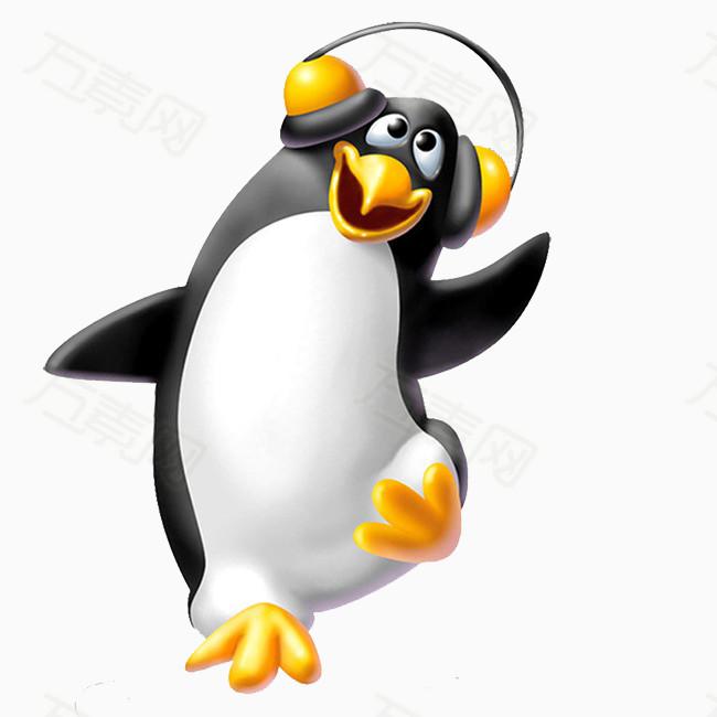 卡通企鹅 手绘企鹅 听音乐的企鹅 可爱 黑白