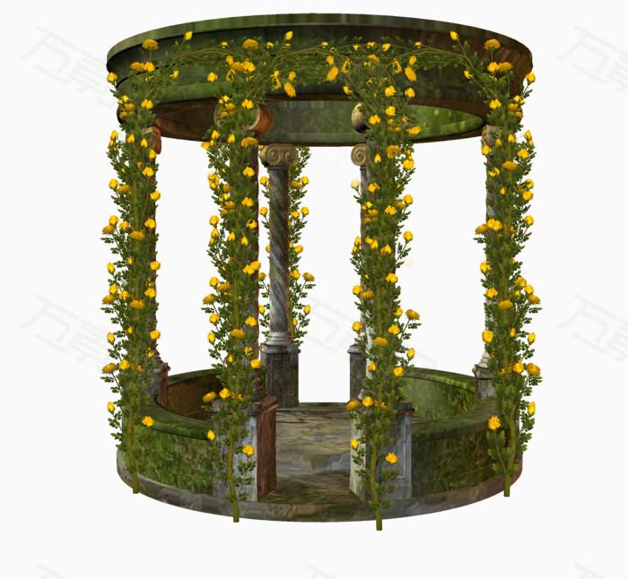 手绘 彩绘 植物元素png 梦幻风格 风景画 复古 写实 凉亭