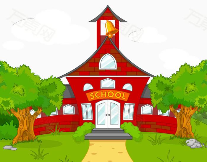 卡通 手绘 红色建筑 教学楼 学校 树木