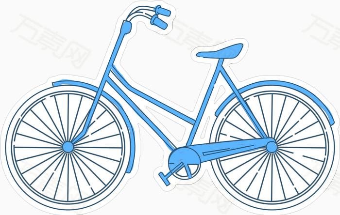 自行车 手绘 卡通 装饰 蓝色