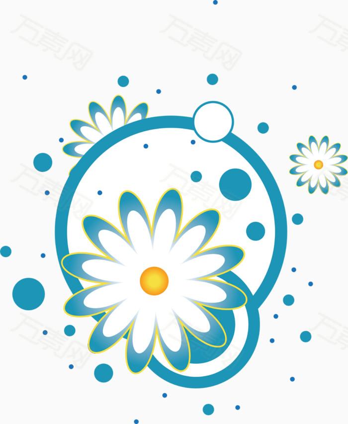 蓝色手绘花朵