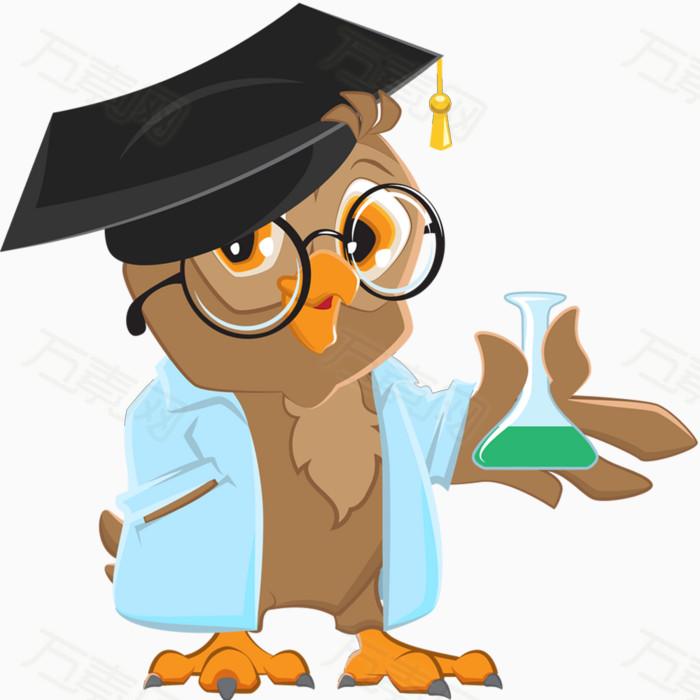 猫头鹰  小博士 博士帽 做实验 卡通 手绘 戴图片
