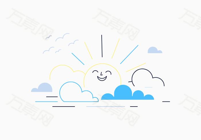 云朵 太阳 简笔 手绘 笑脸 腾云 大雁