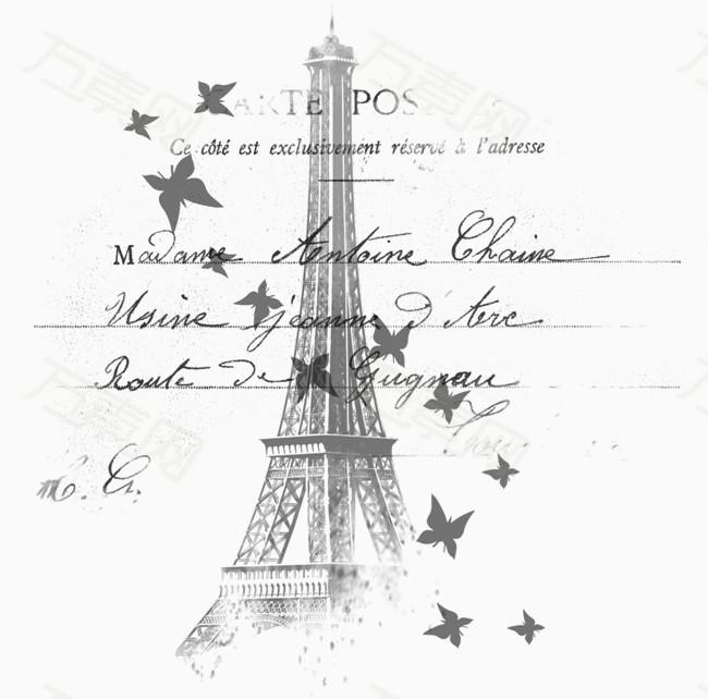 巴黎铁塔图片免费下载_卡通手绘_万素网