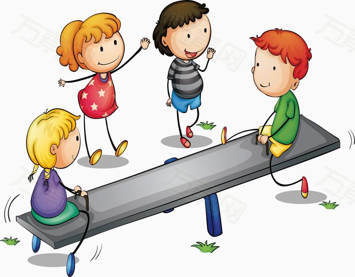 跷跷板游戏免费下载  卡通人物 儿童教育  跷跷板  做游