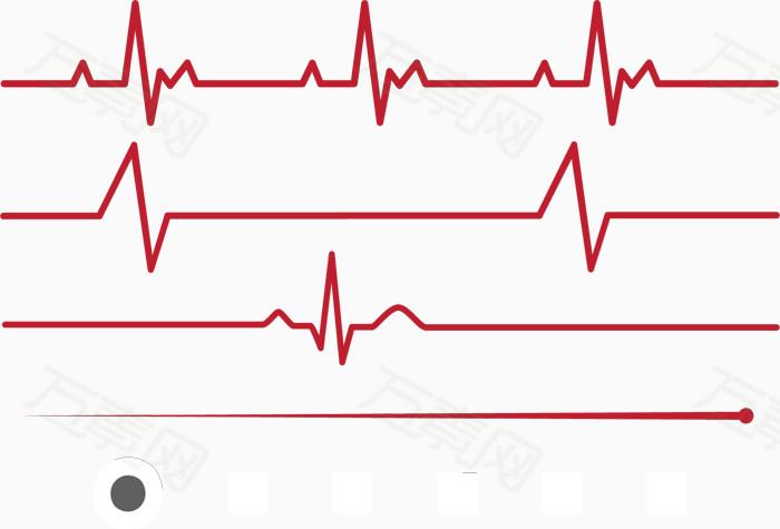 心电 心电图 红色 几何线条 矢量素材