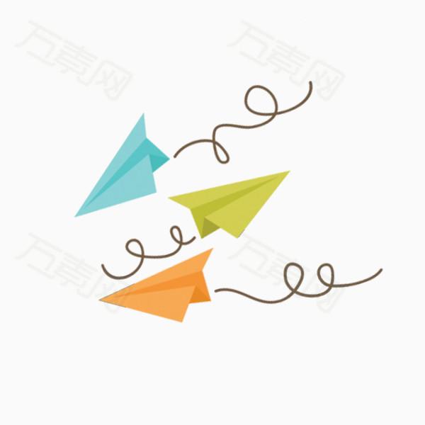 万素网 素材分类 蓝色手绘纸飞机