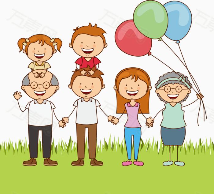 全家福 气球 拍照 祖孙三代   爷爷奶奶  照片