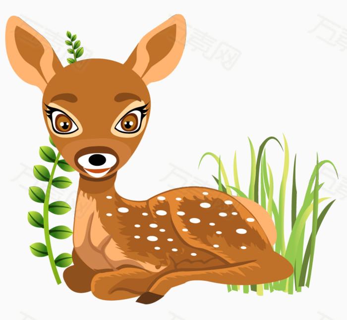动物矢量  树木 小鹿 植物   树叶   绿叶