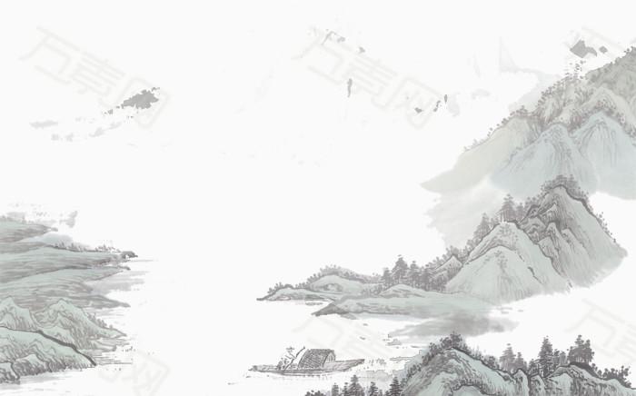 群山 船只  唯美 古风 山水 中国风 水墨画