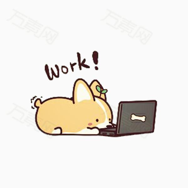 卡通 手绘  柯基  动物 宠物 狗狗 电脑