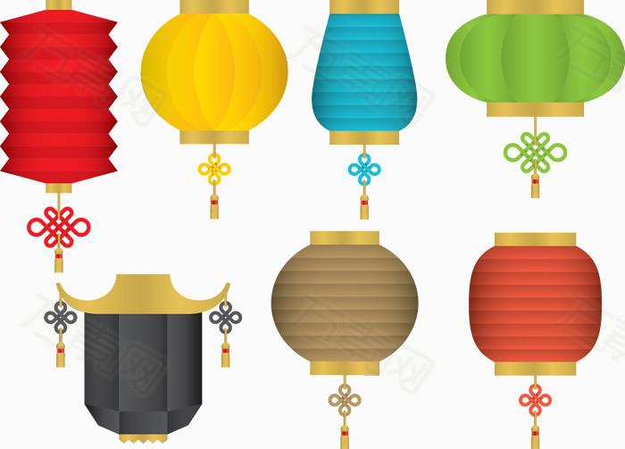 元宵快乐灯谜 长灯笼 圆灯笼 灯笼吊饰 中国灯笼 中国风灯笼 矢量素材