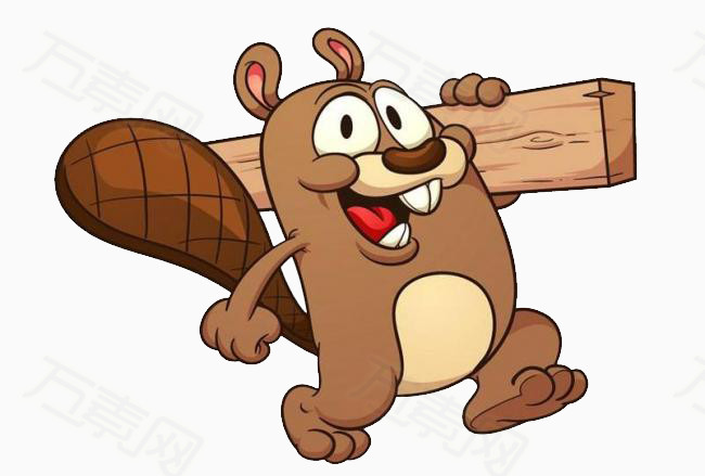 松鼠 木柴 扛着 木头 动物 免扣png素材 手绘