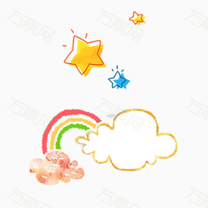手绘彩虹  卡通彩虹   卡通星星  手绘星星