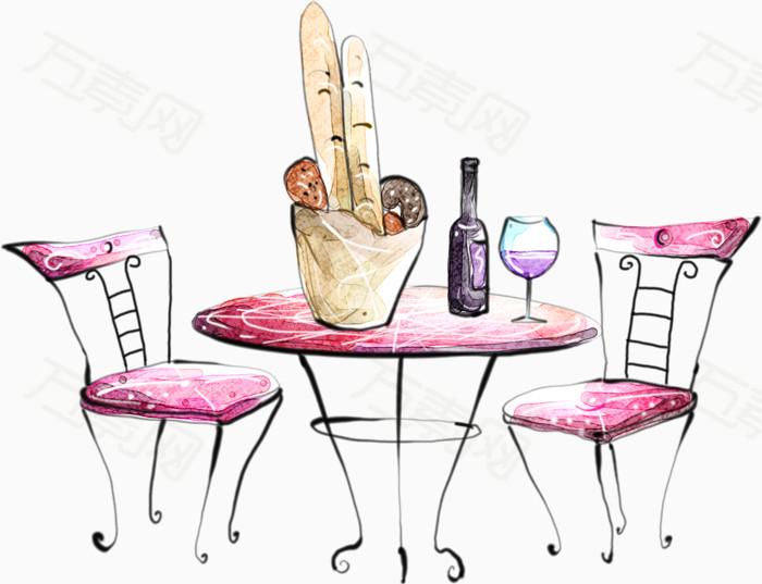 卡通手绘粉红桌子