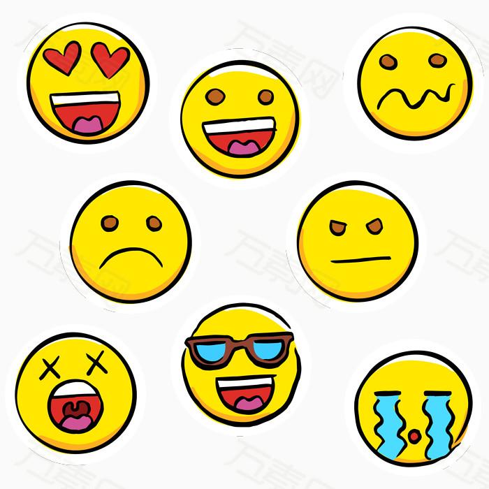 万素网提供矢量手绘表情符号的贴纸png设计素材,背景