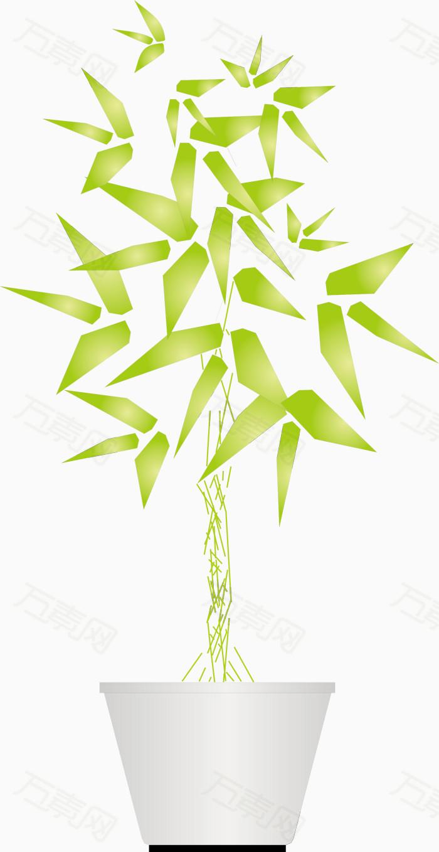 万素网 素材分类 矢量立面绿色竹子盆栽装饰品