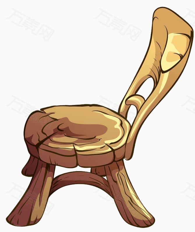 免抠元素 装饰元素 手绘木质椅子  万素网提供手绘木质椅子png设计