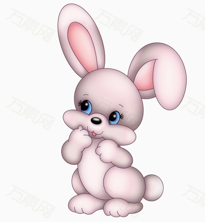 手绘 小兔子                  万素网提供小兔子png设计素材,背景