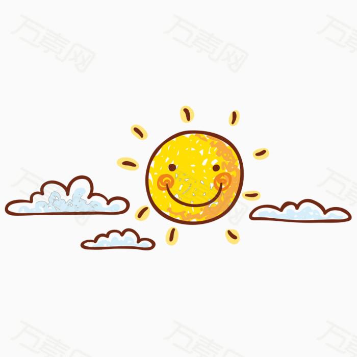 卡通手绘白云太阳