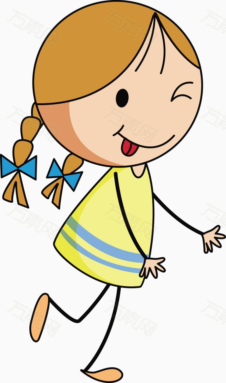 奔跑的小女孩矢量图图片免费下载_卡通手绘_万素网