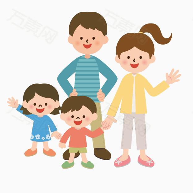 手绘人物图片卡通小人剪影 卡通可爱一家人