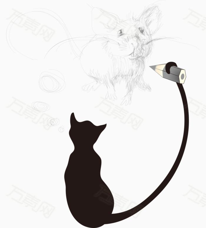 卡通手绘黑白猫画老鼠