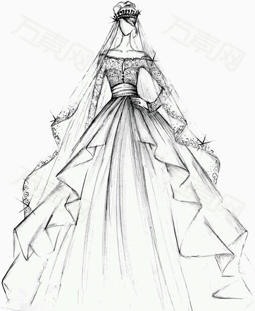 手绘 彩绘 线条画 白色 婚纱 衣架 时尚女装 优雅 长裙 裙子