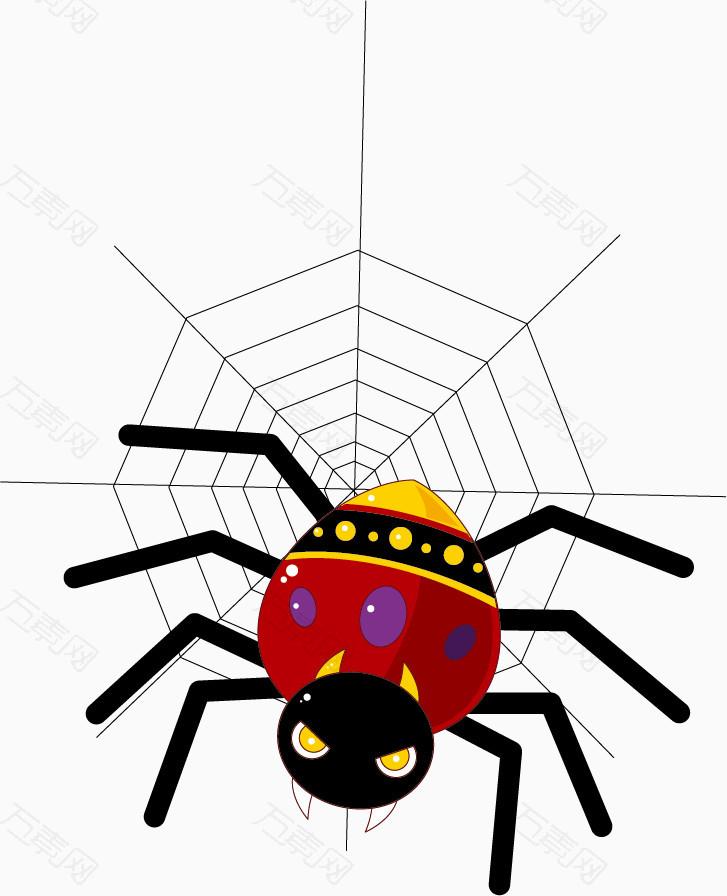 水彩爬行在蜘蛛网的蜘蛛卡通手绘图片