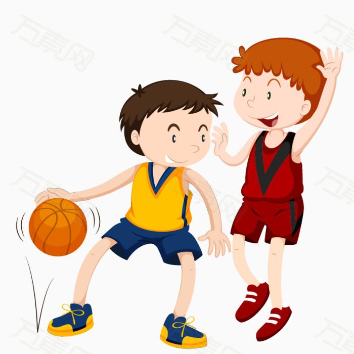 卡通手绘两人打篮球