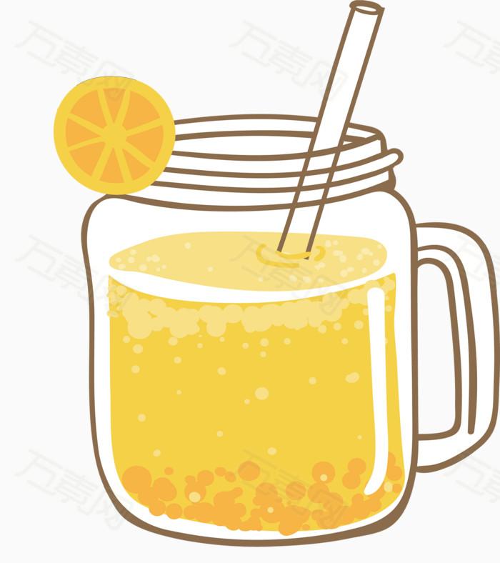 手绘透明玻璃杯鲜榨柠檬果汁图片