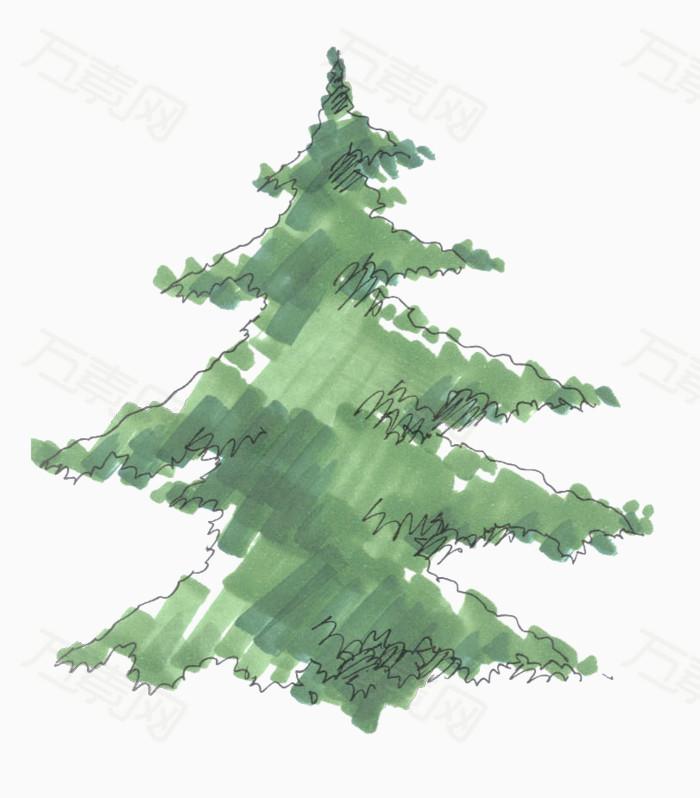 立面手绘景观树图片下载 手绘  立面素材  树  植物 植树节 绿叶