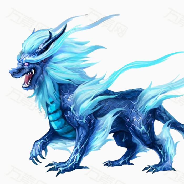 手绘游戏蓝色麒麟神兽