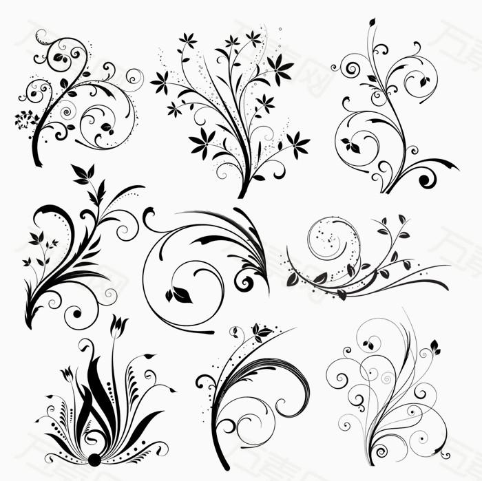 手绘线条花纹