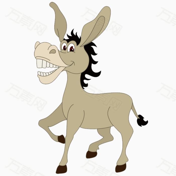 驴子 可爱 卡通 灰色 动物 png元素 卡通手绘