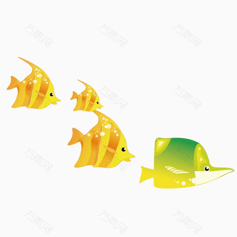 矢量卡通热带鱼装饰鱼群图片