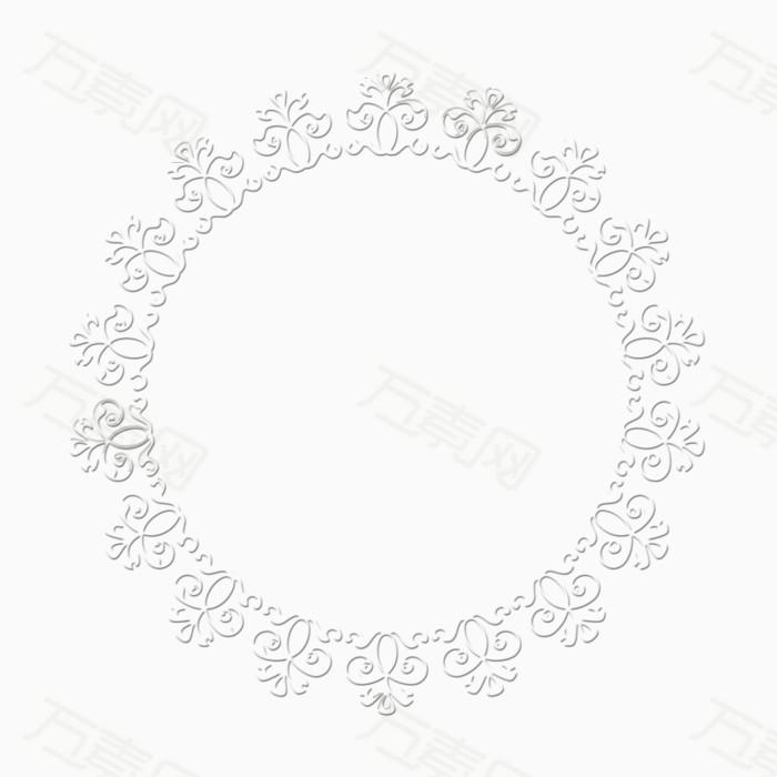 白色花纹镂空简约圆形边框图片免费下载_装饰元素_万
