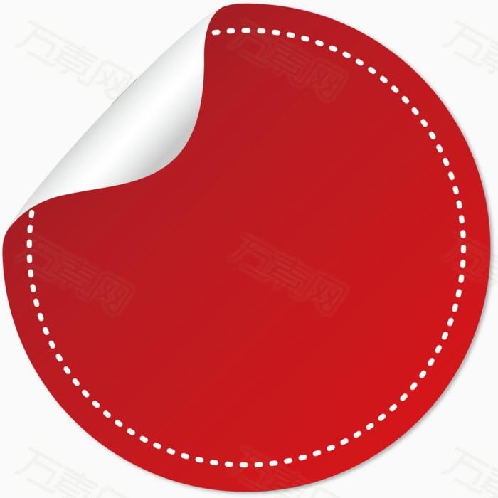 红色圆形矢量虚线圆圈