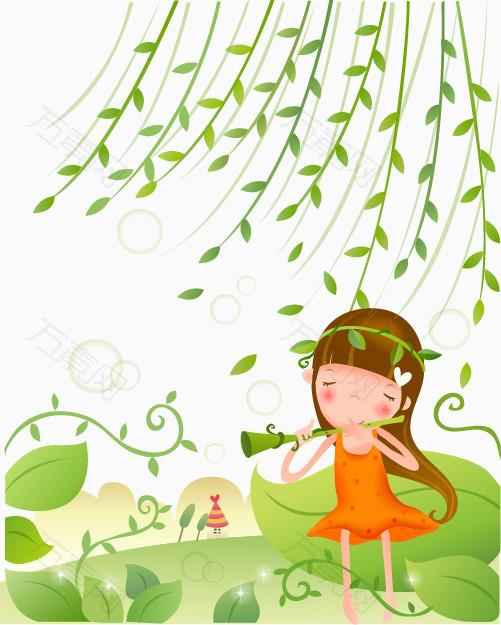 卡通清新小女孩柳树