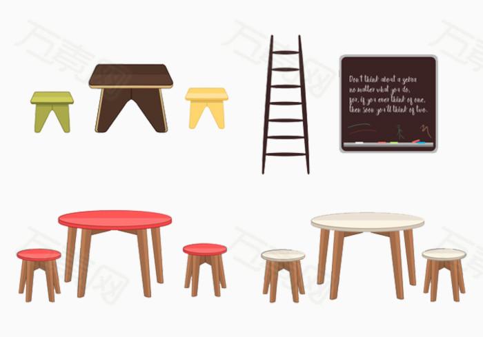 家具圆桌极简梯子图片免费下载_ppt元素_万素网